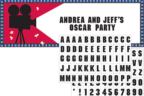 Reel Hollywood Party Banner W/ Sticker