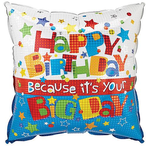 "Balloon Foil 18"" Happy Birthday Star Square"