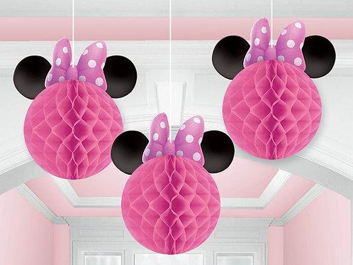 Minnie Mouse Honeycomb Decorations 3Pcs