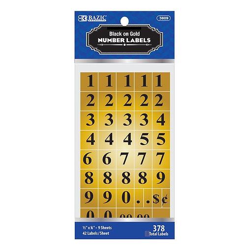 Gold Foil Number Label (378/Pack)