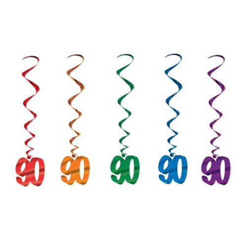 90th Birthday Hanging Swirls 5 Pc