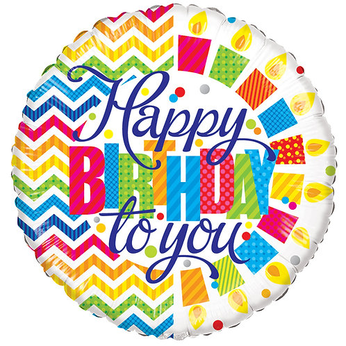 "Balloon Foil 18"" Happy Birthday Chevron"