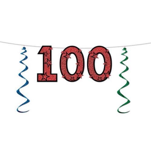 100th Birthday Glitter Streamer