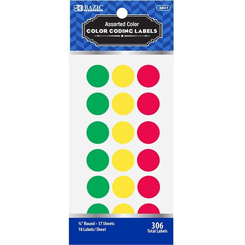 "Assorted Color 3/4"" Round Labels (306/Pack)"