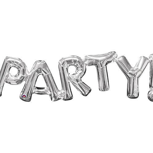 """Balloon Foil 33"""" Party Silver"""