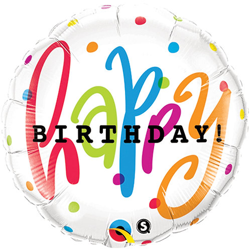 "Balloon Foil 18"" Happy Birthday Dots"