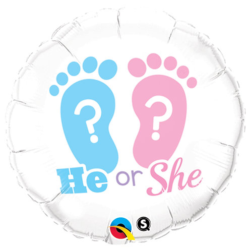 "Balloon Foil 18"" He Or She"