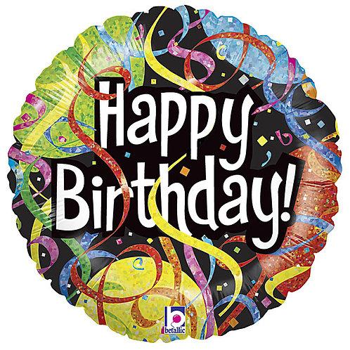 "Balloon Foil 18"" Happy Birthday Streamer"