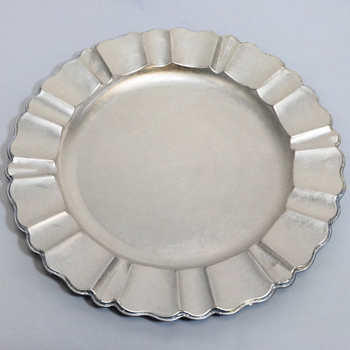 """Plate Charger 13"""" Fluted Silver"""