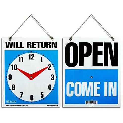 "7.5"" x 9"" ""WILL RETURN "" Clock Sign with ""OPEN"" Sign on back"