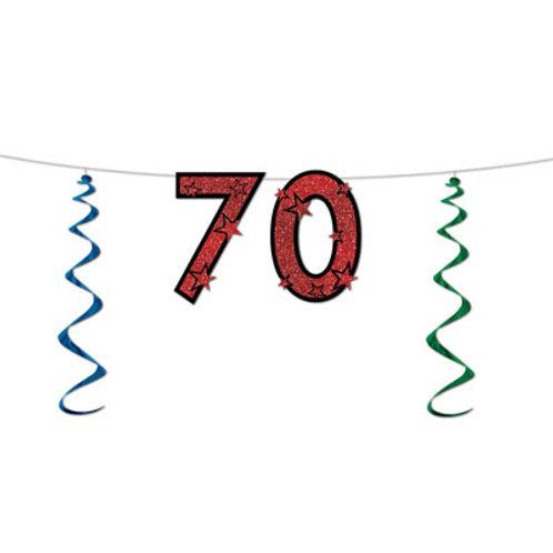 70th Birthday Glitter Streamer