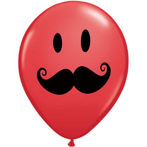 "Balloon Latex 11"" Mustache Red"