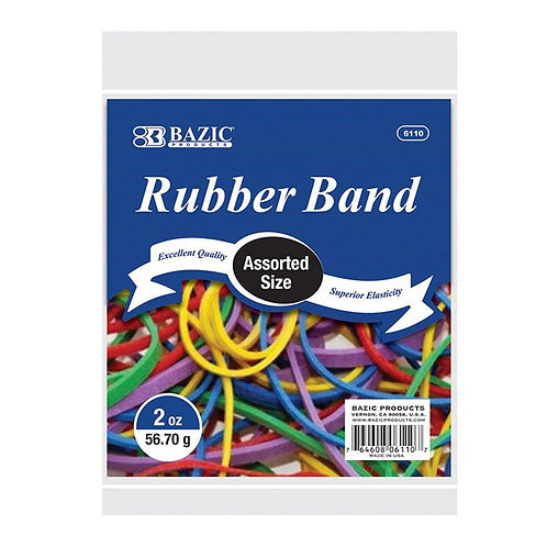 2 Oz./ 56.70 g Assorted Sizes and Colors Rubber Bands