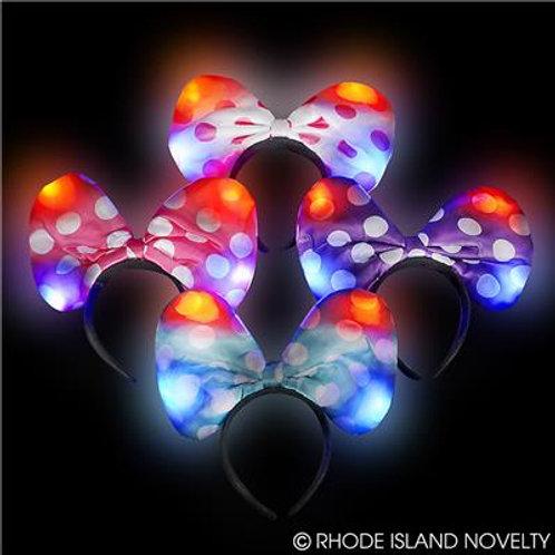 """10"""" Polka Dot Light Up Bow Headband"""