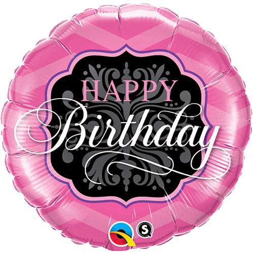 "Balloon Foil 18"" Happy Birthday Black & Pink"
