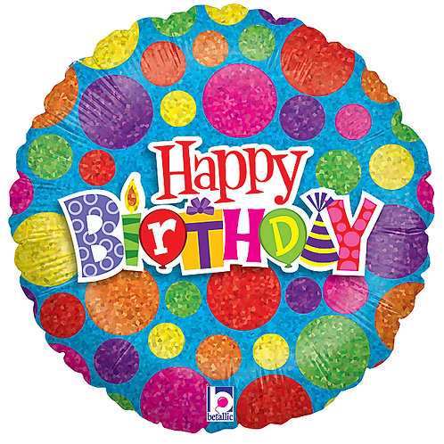 "Balloon Foil 18"" Happy Birthday Spot Dot"