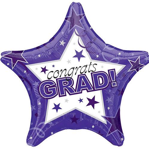"Balloon 19"" Congrats Grad Purple"