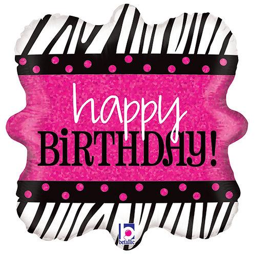 "Balloon Foil 18"" Happy Birthday Zebra"