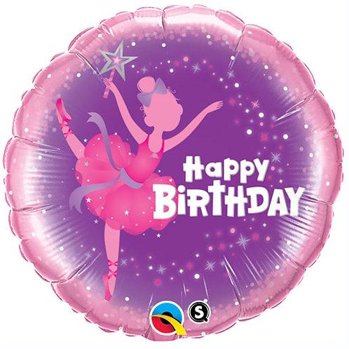 """Balloon Foil 18"""" Happy Birthday Ballerina"""
