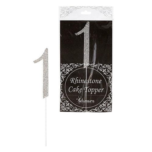 "Cake Topper Rhinestone ""1"""