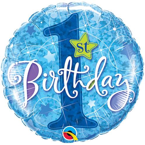 "Balloon Foil 18"" 1st Birthday Blue"