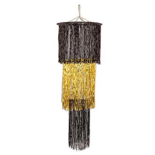 Black and Gold Foil Chandelier 4'