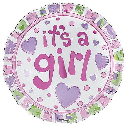 "Balloon 9"" Its A Girl Dots"