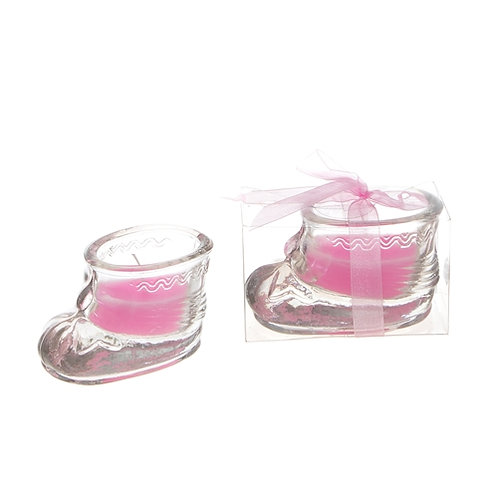 Favor Candle Baby Shoe Pink