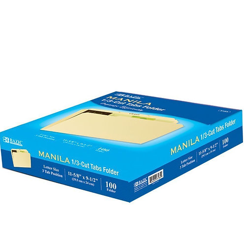 1/3 Cut Letter Size Manila File Folder (100/Box)