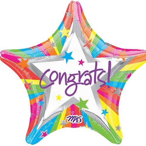 """Balloon Foil 18"""" Rainbow Congrats!"""