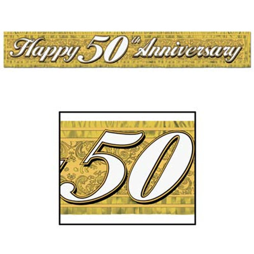 """""""50th"""" Anniversary Fringed Banner"""