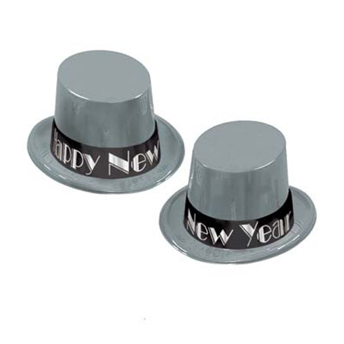 Silver Happy New Year Topper Hat