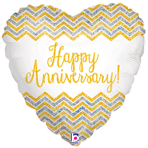 "Balloon Foil 18"" Anniversary Holographic"