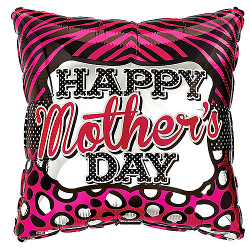 """Balloon Foil 17"""" Happy Mothers Day Animal Print"""