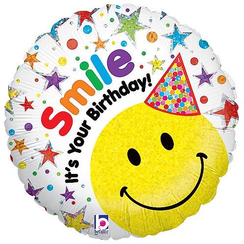 """Balloon Foil 18"""" Smiley Birthday"""
