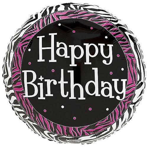 "Balloon Foil 18"" Happy Birthday Zebra Stripe"