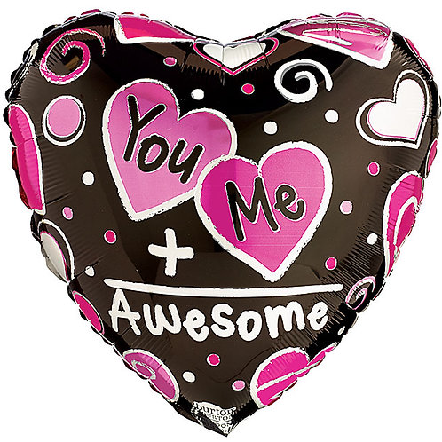 "Balloon Foil 17"" You + Me = Awesome"