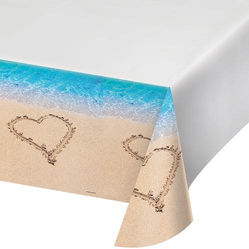 "Beach Love Plastic Tablecover 84""x105"""
