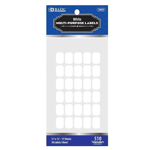 "1/2"" x 3/4"" White Multipurpose Label (510/Pack)"