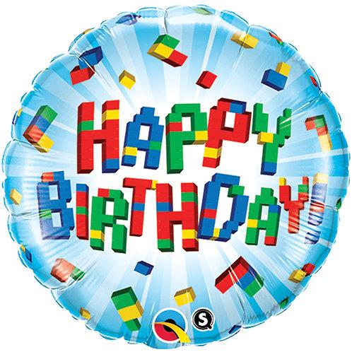 "Balloon Foil 18"" Happy Birthday Blocks"