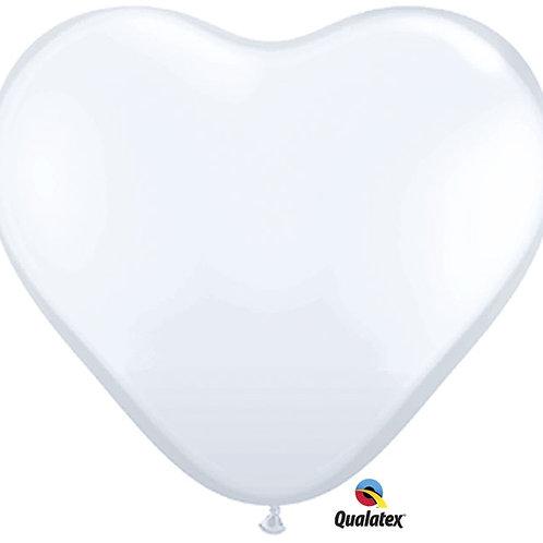 "Balloon Latex 6"" Heart White 100"