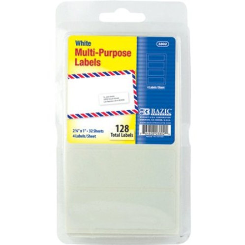 "2 3/4"" x 1"" White Multipurpose Label (128/Pack)"
