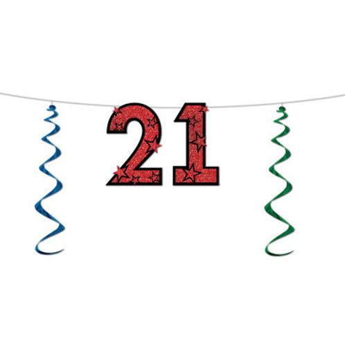21st Birthday Glitter Streamer
