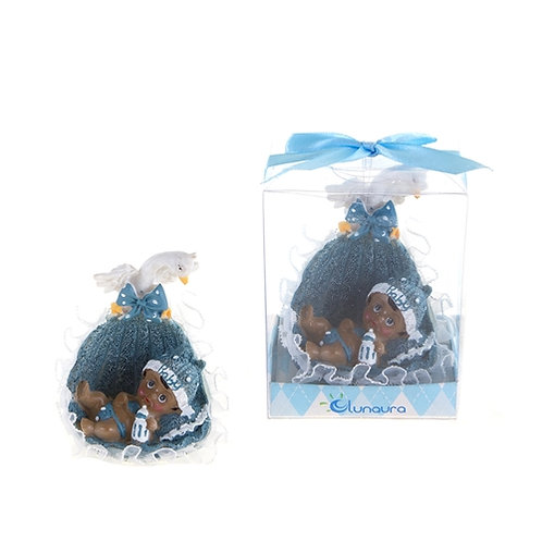 Favor Baby Basket With Swan Blue