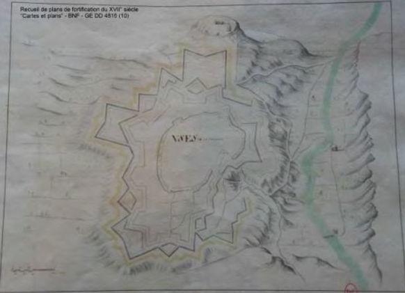 Oppidum d'Ucetia visible sur cette carte du XVIIe siècle d'Uzès.