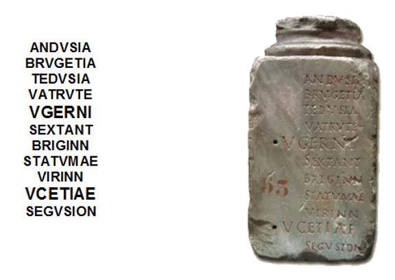 Ucetiae écrit sur une stèle découverte à Nîmes