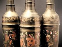 Indian brass hand painted bottles.jpg