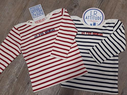 Tee-shirt manche longue type marinière