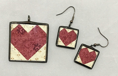 """1 1/2"""" Heart Pendant with Matching Earrings"""