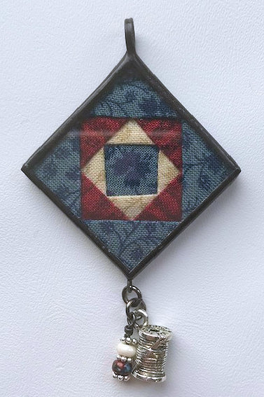 "1 1/4"" Square in a Square Pendant with Bling"